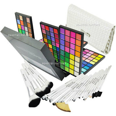 New Pro 192 Color Eyeshadow Palette & 20pcs White Swan Makeup Brush Set #928#813
