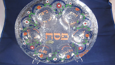 Hanna Bahral - Floral Glass Seder Plate - Hand Painted and Made - Israel
