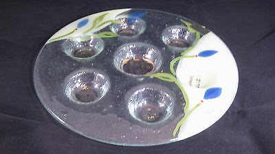 BLUE Floral Fused and Painted Glass Seder Plate - Doris - Hand Made - ISRAEL