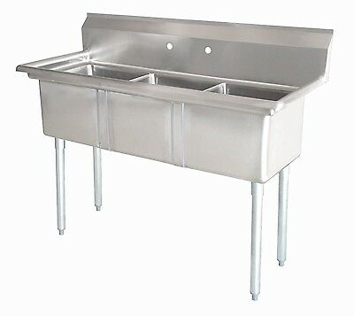 Commercial Sink Stainless Steel (3) Three Compartment 41.5 X 23.75 New NSF