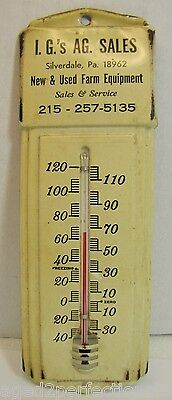 Old I.G. AG. Sales New & Used Farm Equipment Adv Thermometer Silverdale Pa works