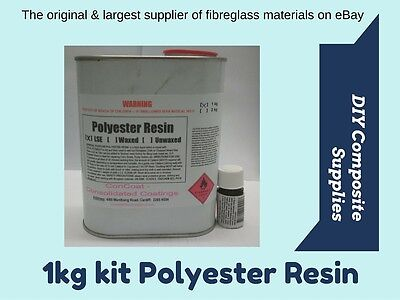 1 kg POLYESTER RESIN kit for Fibreglass (inc. Hardener) -FREIGHT PER DESCRIPTION