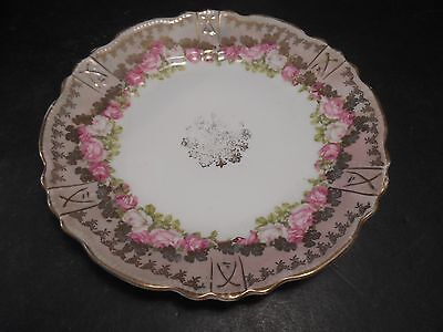 Three Crown China Luncheon Plate w/ Pink & White Roses 3 Crown Mark Germany