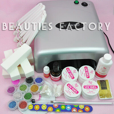 BF Value Set 36W UV Gel Curing Dryer Lamp + UV Gel Nail Kit Tools Set 604