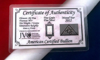 (20 PACK) ACB SILVER SOLID BULLION MINTED 5 GRAIN BARS .999 FINE w/ CERTIFICATE
