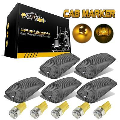5pc Roof Top Light Cab Marker Smoke Covers+Amber 5050 LED Bulb for Chevrolet GMC