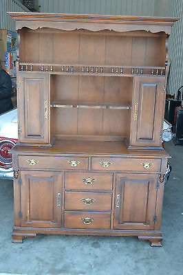 Vintage Tell City Young Republic Hard Rock Maple Buffet China cabinet with Hutch