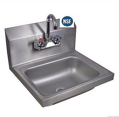 Commercial Kitchen Stainless Steel Wall-Mount Hand Sink w/ Faucet New
