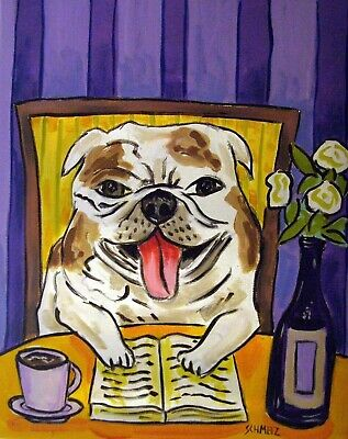 BULLDOG reproduction from painting 13x19 inch glossy photo print gift reading