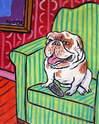 BullDog watching television dog wall art gift 13x19 gloss PRINT reproduction