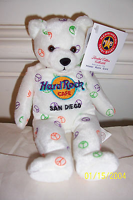 2004 Peace Hard Rock Cafe Limited Edition Teddy Bear From San Diego