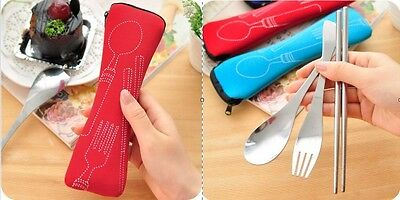 Camping Cutlery 3 Pcs Set zipped holder Picnic Chopstick Spoon Fork Travel Kit
