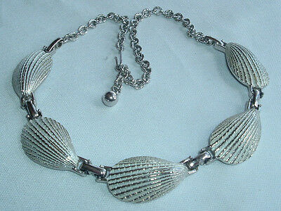Vintage Silver Tone Textured Shell Link Necklace Choker