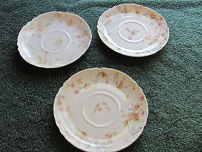 HAVILAND LIMOGES FRANCE FINE CHINA SAUCER WITH PINK FLOWERS