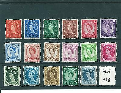 WILDING DEFINITIVES - 17 VALUES TO 1/6d. -  UNMOUNTED  MINT- PROBABLY PHOSPHOR I