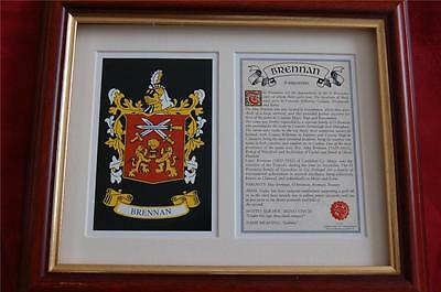 BRENNAN Family Heraldic FRAMED Coat of Arms Crest - with History