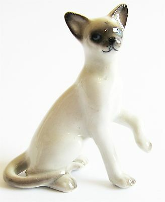 Siamese Cat with Paw Up - Miniature Porcelain Hand Painted Figurine