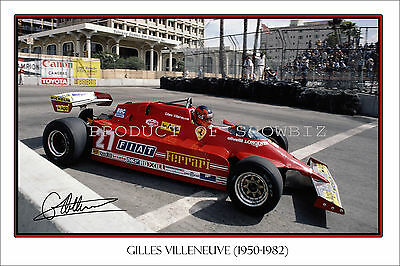 * Gilles Villeneuve * Signed F1 Champion Print, Great Collectable, Dont Miss Out