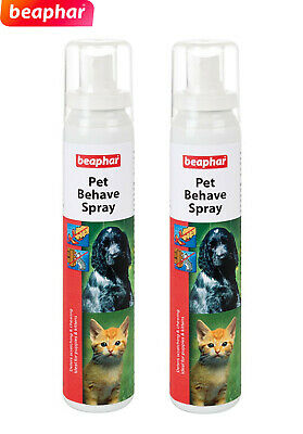 Beaphar Pet Behave Training Spray  Stops Dogs & Cats Chewing Scratching 125Ml X2