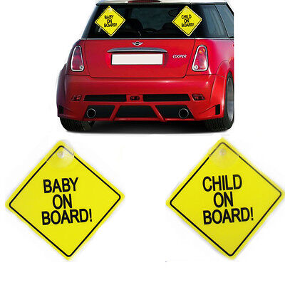 Plastic Baby on Board & Child on Board Sign Car Safety Yellow Suction Cup Pack 2