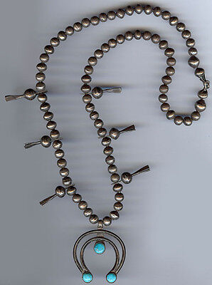 Antique Navajo Indian Silver Turquoise Squash Blossom Naja Necklace