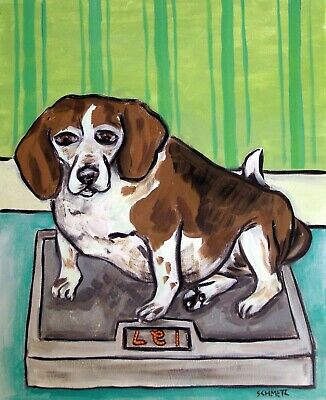 Beagle weighing on a scale signed dog art 13x19 glossy print poster of painting