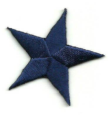 ( ONE DOZEN - 12 ) Stars - NAVY BLUE EMBROIDERED IRON ON PATCHES 1 5/8""