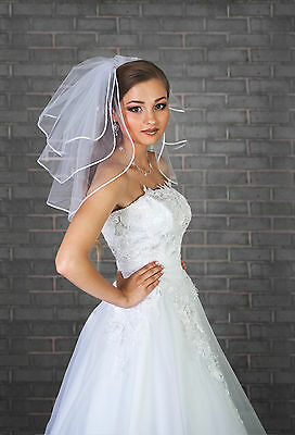 3 Tier Ivory / White Wedding Bridal Short Satin Edge Veil  With Comb