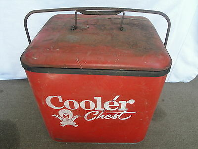 VINTAGE OLD RARE RED METAL COOLER CHEST SODA POP PORTABLE COKE WITH TRAY ESKIMO!