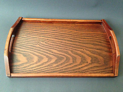 """Chinese Japanese 17.5""""L Natural Solid Wood Food Serving Tea Ceremony Handle Tray"""