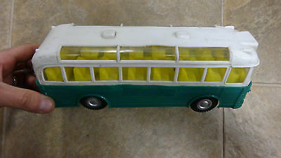 1960's VINTAGE MAK'S TOYS TOUR BUS  FRICTION  USED VERY RARE GREEN   HONG KONG