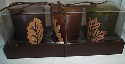 FALL LEAVES VOTIVE HOLDERS GIFT BOXED SET OF 3 (2) BROWN, (1) GREEN