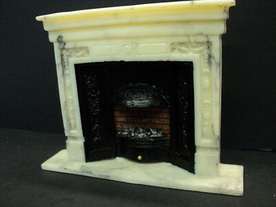 Dollhouse Fireplace/ Marble Look/ Electiric