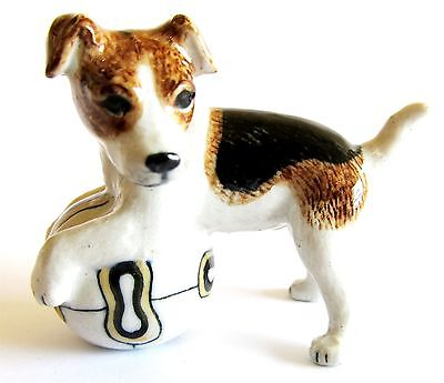 Jack Russell with Ball  Miniature Ceramic Hand Painted Dog Figurine Brown Ears