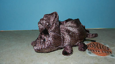"""Russ Zonies Earth Zone Collection Tyrone Triceratops Stuffed Plush Beanie 7"""" NWT"""