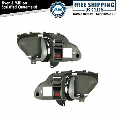 Gray & Chrome Inner Inside Interior Door Handle Pair Set for Chevy Truck Pickup