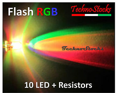 10 LED 5mm RGB Lampeggio Multicolore + Resistenze 10 RGB Fast Flash +Resistors