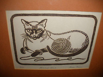 BEAUTIFUL HAND SIGNED BY KARIN REIMES (20th) WOODCUT LITHO CAT RARE #10/15