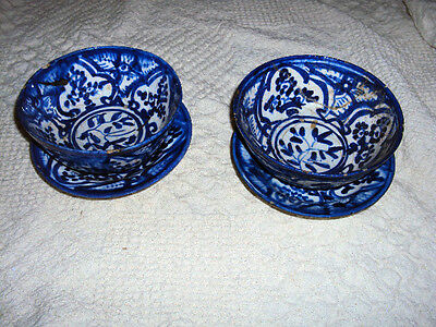 Antique 18/19thC Mexican Islamic Persian Blue White Pottery Bowl Plate Set of 2