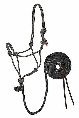 Weaver Indigo Blue and Silver Rope Halter with Lead HORSE TACK