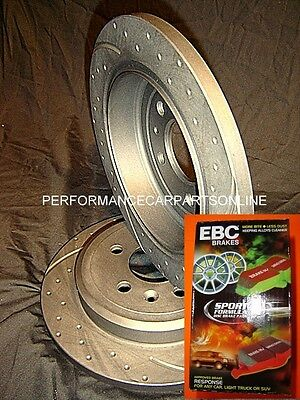 DRILLED & SLOTTED Ford BA BF FG REAR Disc brake Rotors & EBC RED STUFF pads PAIR