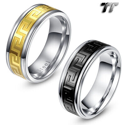 TT 8mm 316L Stainless Steel Engraved Greek Key Comfort Band Ring (R232)