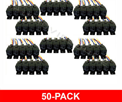 50 Pack 12 Volt 30/40 Amp Bosch/tyco Type Spdt Automotive Relay+Harness Sockets