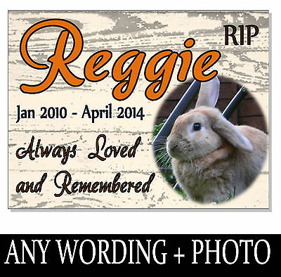 RABBIT ANY PET MEMORIAL Photo Personalised Plaque sign plate grave marker garden