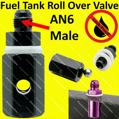 AN6 6AN Aluminium Fuel Tank Safety Roll Over Check Valve Black W/ 1Yr Warranty