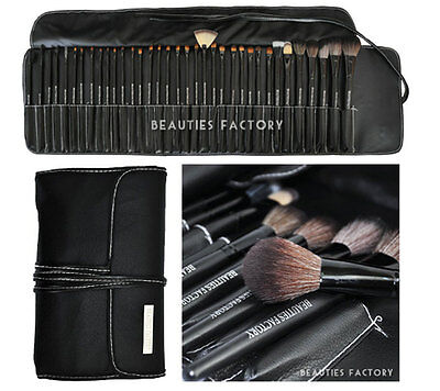 BF New 35X Soft Cosmetic Eyebrow Shadow Makeup Brush Set Kit Pouch Case #811