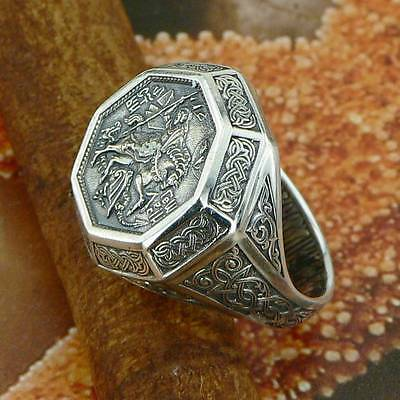 """Sterling Silver Russian Orthodox Ring """"St. George Conqueror"""" Solid .925 Size N-Z"""
