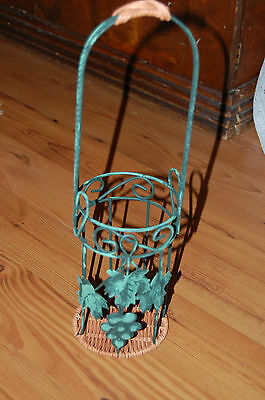 Decorative Metal Wine Bottle Holder-Grape Leaves & Wicker Bottom