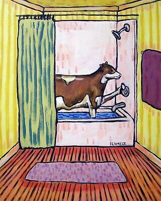 art  of a COW from a PAINTING bathroom  modern folk 4x6  GLOSSY PRINT