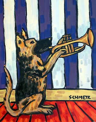 German Shepherd playing trumpet animal dog art  4x6  giclee gift schmetz GLOSS